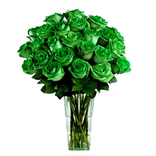 Send 2 Dozen Green Roses In Vase To Philippines