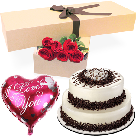 Deliver 6 Red Roses Box With Tiramisu Cake Red Ribbon In Philippines