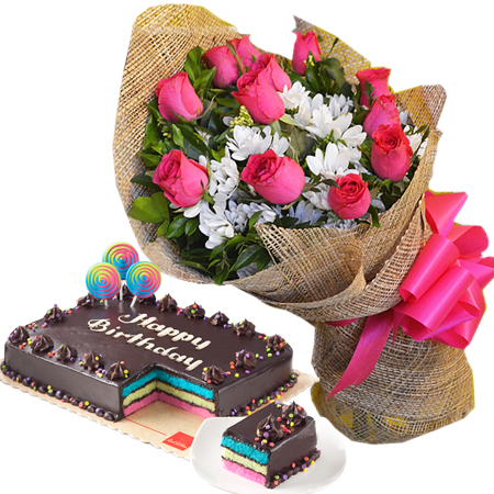 Delivery 12 Red Roses With Rainbow Dedication Cake 8x12 Regular By Ribbon In Philippines