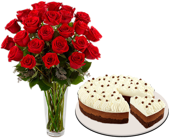 Delivery 24 Red Roses With Chocolate Mousse By Red Ribbon To Philippines