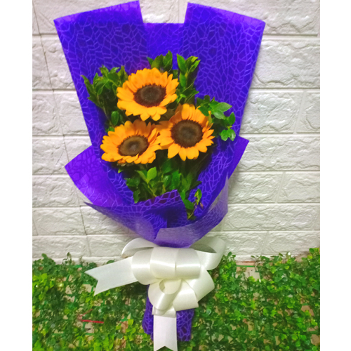 Delivery 3 pcs Sunflower in Gorgeous Bouquet to Manila Only
