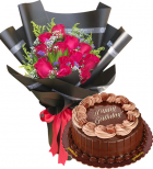 mother's day flower with cake