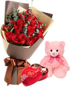 ANNIVERSARY ROSE BEAR CHOCOLATE