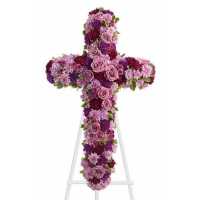 Sends Pinks and Purples Galore Cross Standing Spray to Philippines