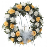 Sens Sincere Peach and White Funeral Wreath to Phillipines