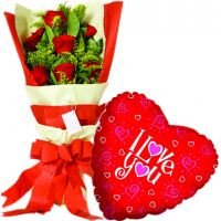 12 pcs Roses & love u Balloon