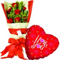 12 pcs Roses & love u Balloon