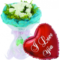12 pcs White Roses & Love You Balloon