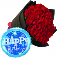 48 Red Roses With Birthday Mylar Balloon