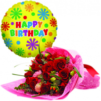 12 pcs red roses with bouquet & birthday balloon