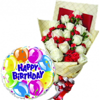 12 Pcs White Roses With Birthday Balloon