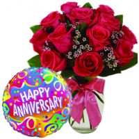 12 Rad Roses in Vase With Anniversary Mylar Balloon