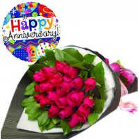 24 Red Rose With Anniversary Mylar Balloon