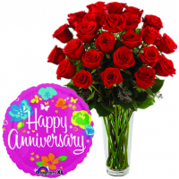 24 Red Roses in Vase With Anniversary Mylar Balloon
