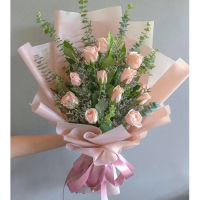 send 12 stems peach color roses in bouquet to philippines