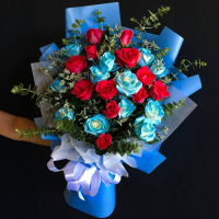 send 24 red and blue roses in bouquet to philippines