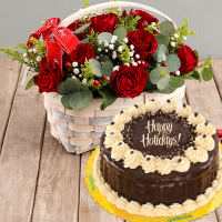 send 24 red roses with christmas rocky road cake to philippines