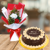 send xmas red and white roses with rocky road cake to philippines