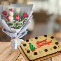 send mixed color tulip with holiday mocha cake to philippines