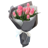 12 pink holland tulip in bouquet to philippines