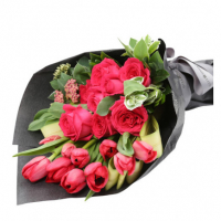 10 tulip and 6 roses in bouquet to philippines