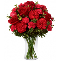 send 12 carnations and 6 red roses in vase to philippines