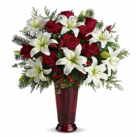 send lilies with red rose in vase to philippines