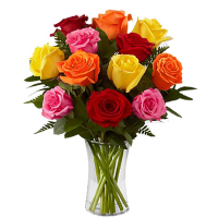 Send 12 mix color roses in vase to philippines