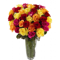 send  24 mix color roses vase in philippines