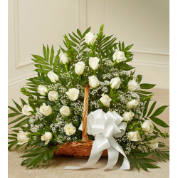 Send Delicate White Roses Basket to Philippines