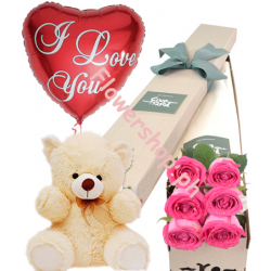 6 Pink Roses Box,Pink Bear with I Love You Balloon Send to Dhaka