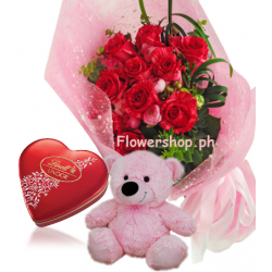 Red Rose bouquet,Pink Bear with Lindt Chocolate Send to Philippines
