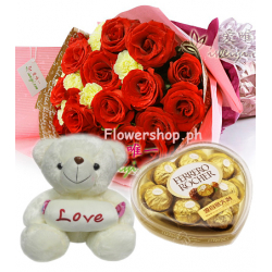 12 Red Roses & yellow carnation Bouquet,Pink Bear with Ferrero box Send to Philippines