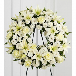 Send Lily Heavenly Funeral Wreath Arrangements to Phillipines