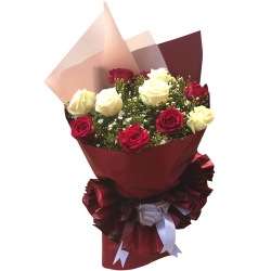 send 12 pcs xmas mixed roses in bouquet to philippines