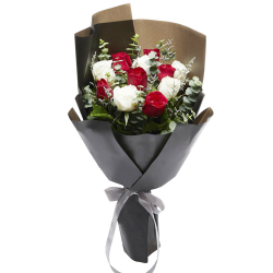 send 12 pcs red and white roses for christmas to philippines