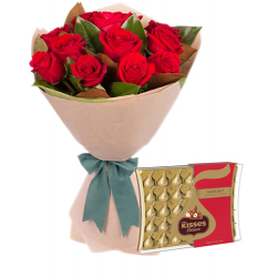 12 Red Roses With Hershey's Kisses Deluxe Chocolate Box