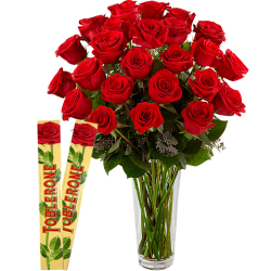 24 Red Roses In Vase With Toblerone Chocolates