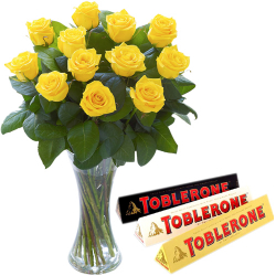 12 Yellow Roses In Vase With Toblerone 3 Varieties