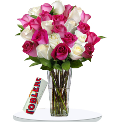 24 Pink And White Roses In Vase With Toblerone White Chocolate