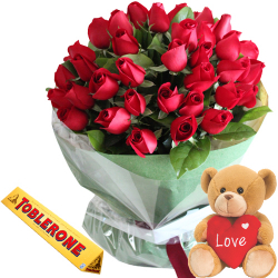 36 Red Roses With Toblerone Yellow & Cute Brown Small Bear