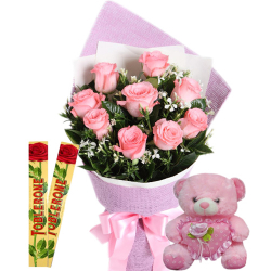 12 Pink Roses With Toblerone Chocolate & Cute Small Pink Bear
