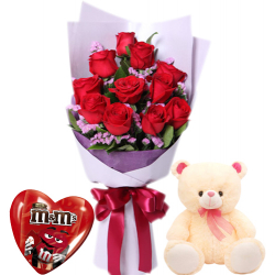 12 Read Roses With M&M Milk Chocolate & Cute Small Bear