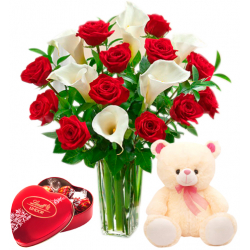 12 Red Roses & Calla Lili With Lindt Chocolate & Small Cute Bear