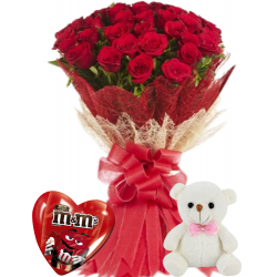24 Red Roses With M&M Milk Chocolate & Cute Small Bear