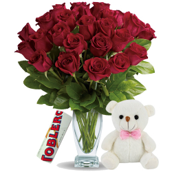 24 Red Roses In Vase With Toblerone Chocolate & Small Bear