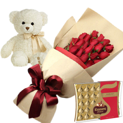 24 Red Roses With Hershey's Kisses Deluxe Chocolate & Small Bear
