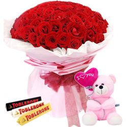 36 Red Roses With Toblerone 3 Varieties Chocolate & Small Bear
