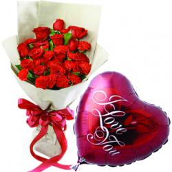24 pcs Roses & 1 Pcs love u Balloon