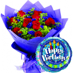 12 Red Roses With Birthday Mylar Balloon